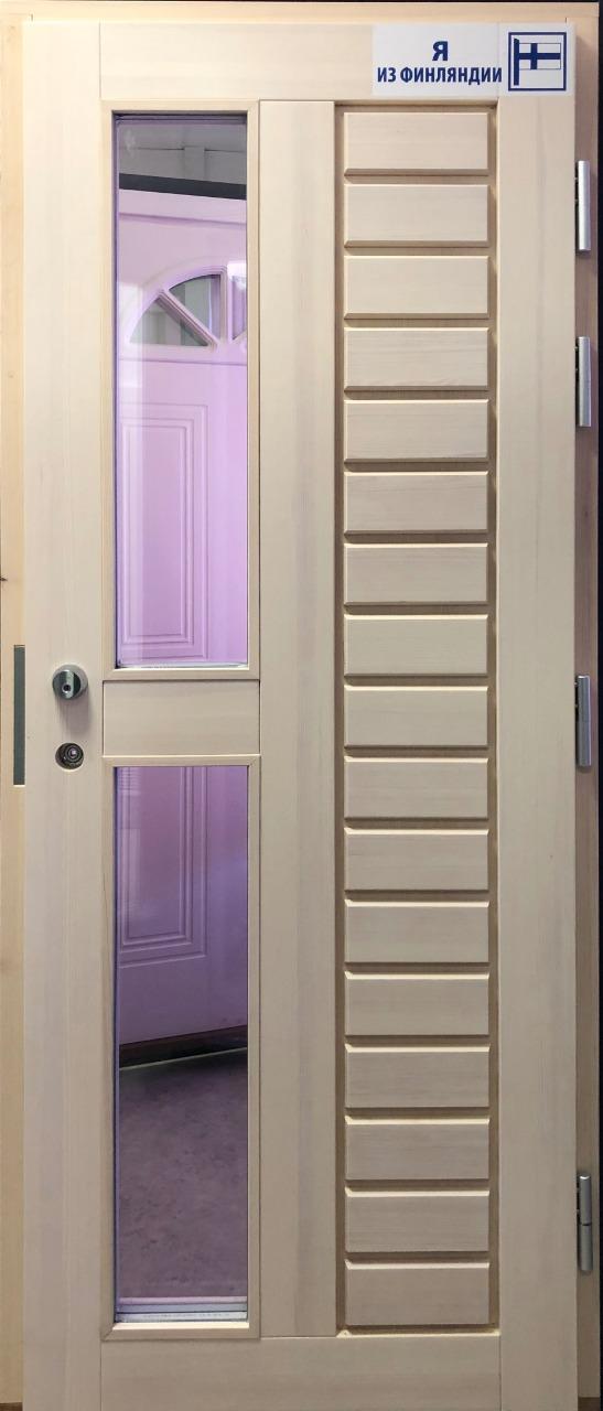 Теплая входная дверь C8 М9*21 правая, массив сосны белый лак - лучшая цена со складов в Москве и Петербурге